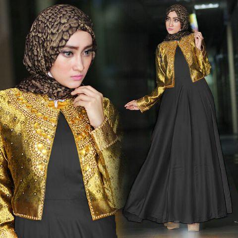 Baju Pesta A215c Satin Payet Busana Muslim Dian Pelangi