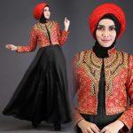 a225b baju muslim pesta satin merah