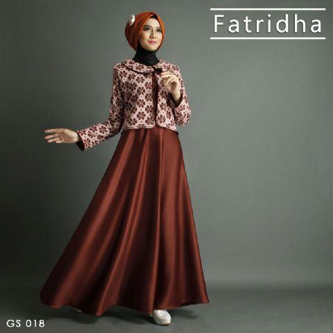 Gamis Pesta Satin A255 Premium Coklat - Baju Muslim Modern