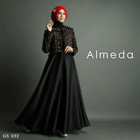 Gamis Pesta Almeda Premium A257 Hitam