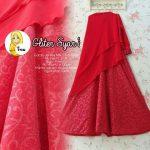 a260 gamis sifon glitter merah