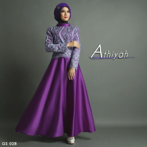 Baju Pesta Satin Mix Brokat Athiyah A207 Ungu