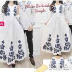 cp245 gamis couple katun bordir putih