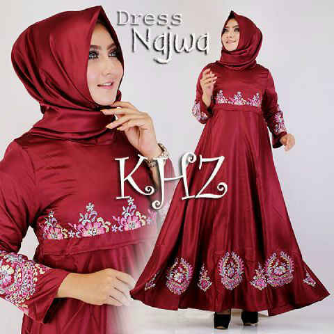 dress satin najwa maroon
