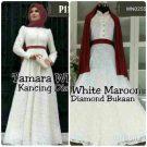 Gamis Brokat Tamara White P1140a Maron