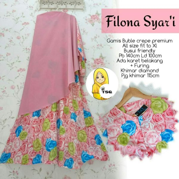 Gamis Crepe Filona Syari B008 Jumbo (Pink)