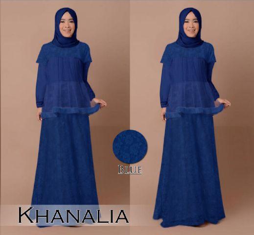 B030 gamis pesta brokat khanalia biru