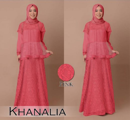 B030 gamis pesta brokat khanalia pink