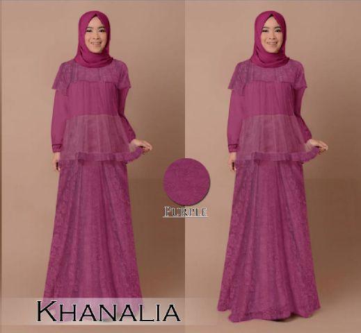 Gamis Pesta Brokat Khanalia B030 Baju Muslim Modern Remaja