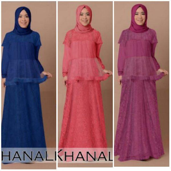 Gamis Pesta Brokat Khanalia B030 Baju Muslim Modern Butik Jingga