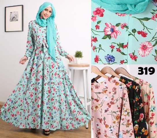 Gamis Cantik Motif Bunga 319 Crepe Baju Muslim Modern