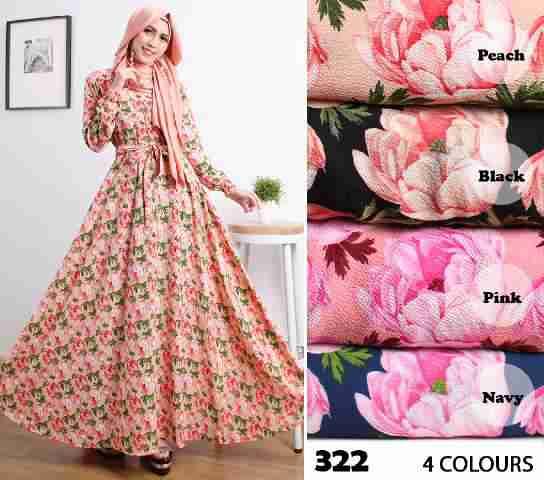 Gamis Cantik Motif Mawar 322 Crepe Busana Muslim Modern Butik Jingga