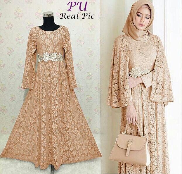 Baju Gaun Pesta Ratih Full Brokat - Model Gamis Modern