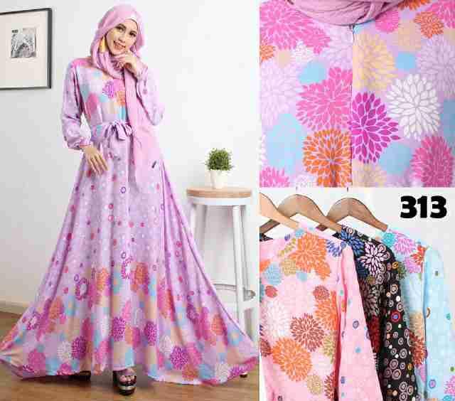 Gamis Remaja 313 Bahan Koshibo Baju Muslim Modern Terbaru