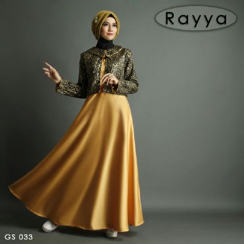 b009 gamis pesta satin rayya gold