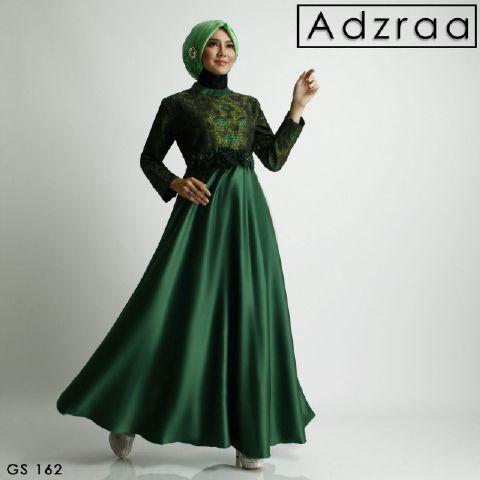 b010 gamis pesta adzraa satin hijau