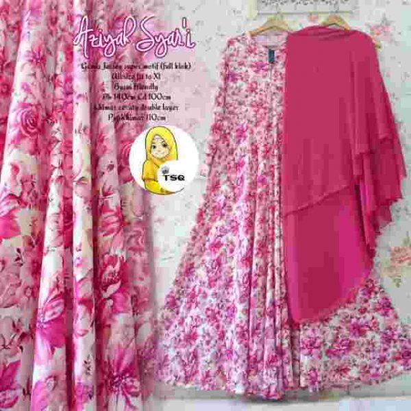 b025 gamis syari aziyah pink