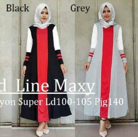 Gamis Remaja Redline Maxi B047 Baju Muslim Modern Terbaru