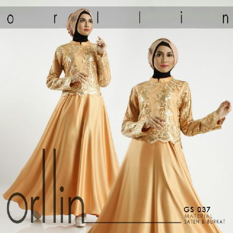 b050 gamis pesta brokat satin gold