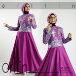 b050 gamis pesta brokat satin purple
