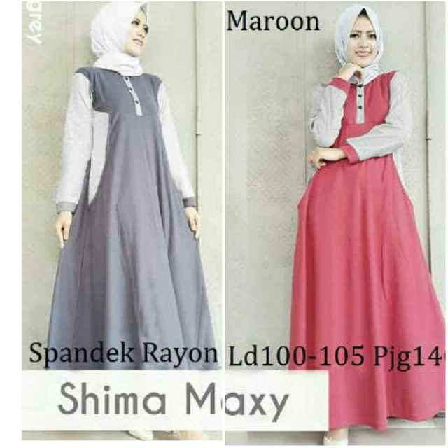 Gamis Remaja Shima Maxi B052 Baju Muslim Modern Murah Butik Jingga