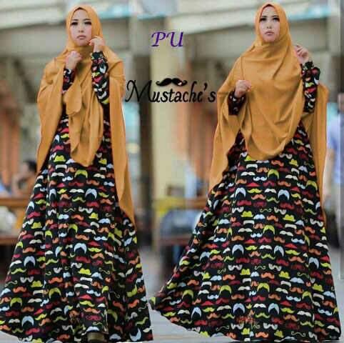 b055 baju muslim syari kumis hitam