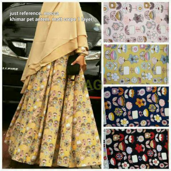 Gamis Cantik Motif Bunga Geranium (on model mocca)