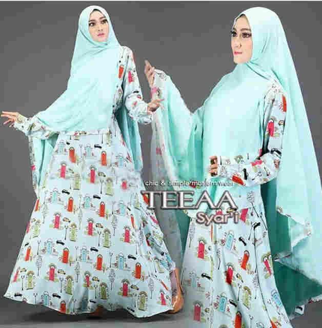 Gamis modern teeaa syar 39 i motif terbaru baju muslim remaja Baju gamis remaja