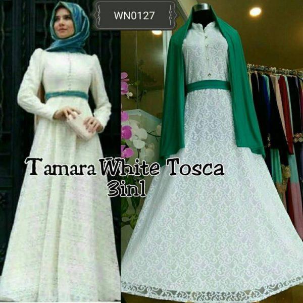 Gamis Brokat Tamara White P1140a Busana Pesta Modern