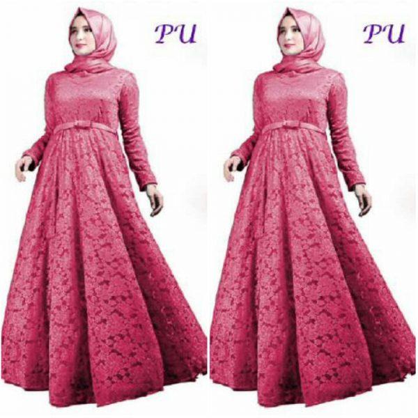 Gamis Pesta Brokat Ellen A185 Baju Muslim Modern Butik Jingga