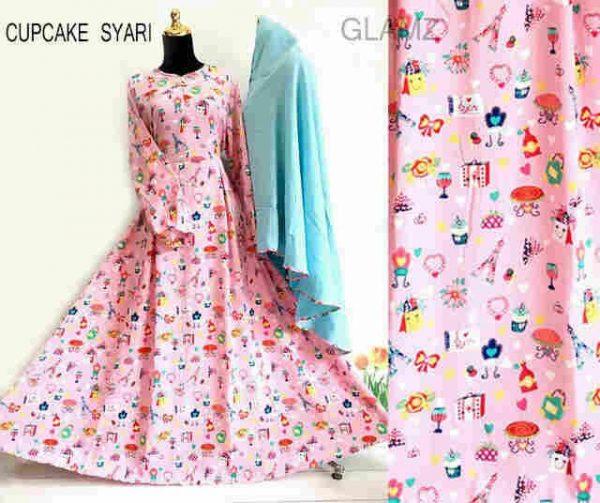 Gamis Syari Remaja B057 Cupcake Pink