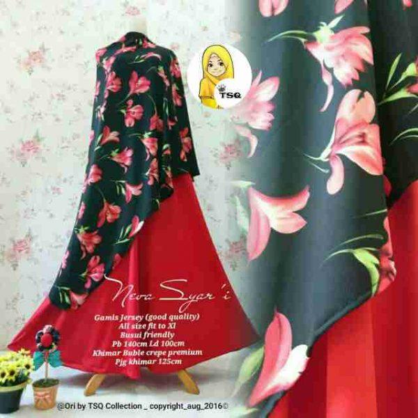 b063 gamis syari cantik merah