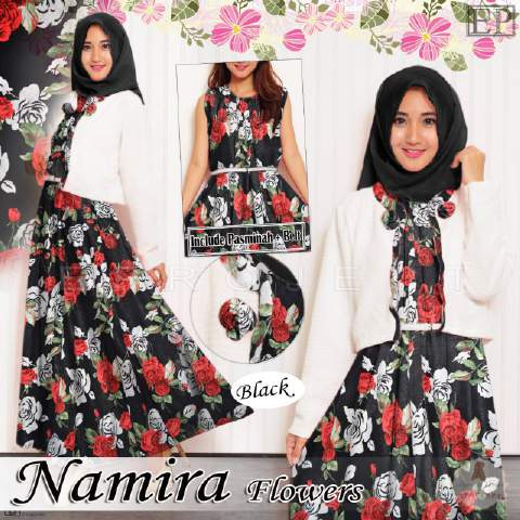 Gamis Remaja B064 Namira Flowers Baju Muslim Modern