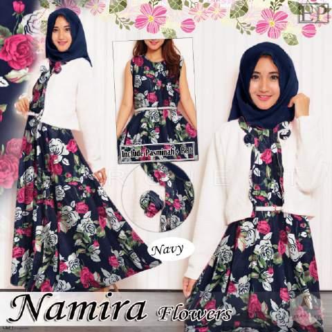 Gamis Remaja B064 Namira Flowers Baju Muslim Modern Butik Jingga