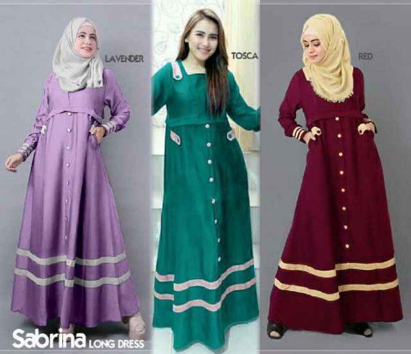 Gamis remaja sabrina b067 katun model baju muslim terbaru Baju gamis remaja