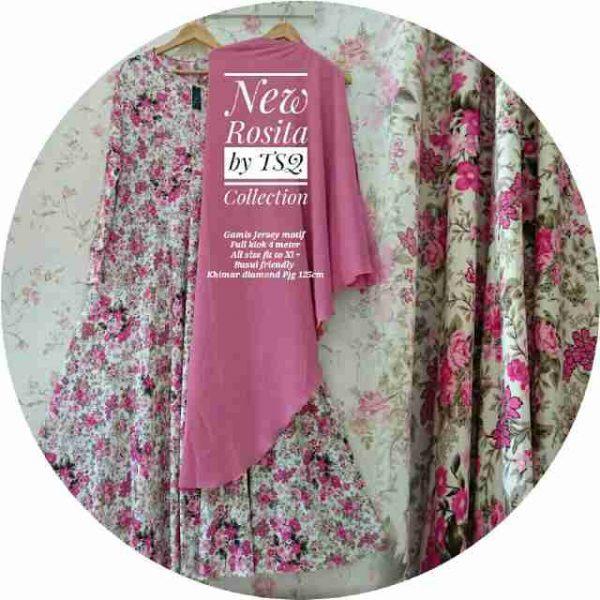 gambar gamis syar'i rosita pink