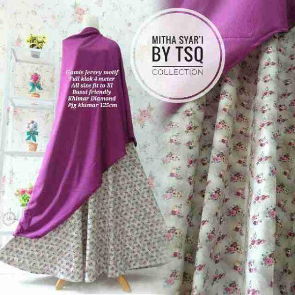 gambar baju muslim modern mitha ungu