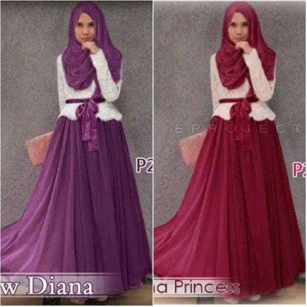 Gamis Pesta Brokat Diana Princess P254 Baju Muslim Modern