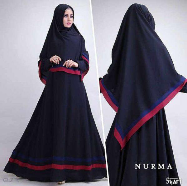 gambar baju gamis syari cantik nurma black