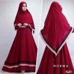 B091 gamis syari cantik nurma merah