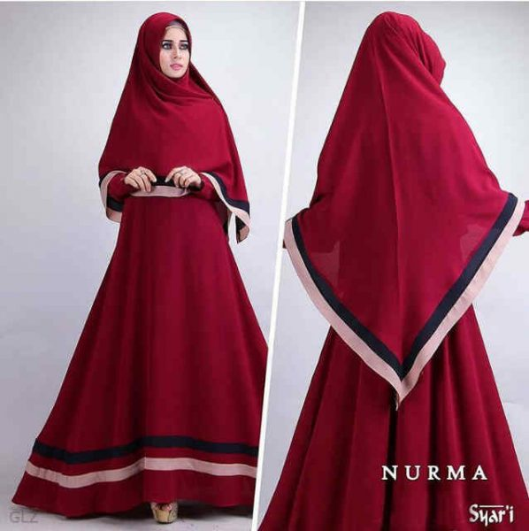 model gamis syari cantik nurma merah