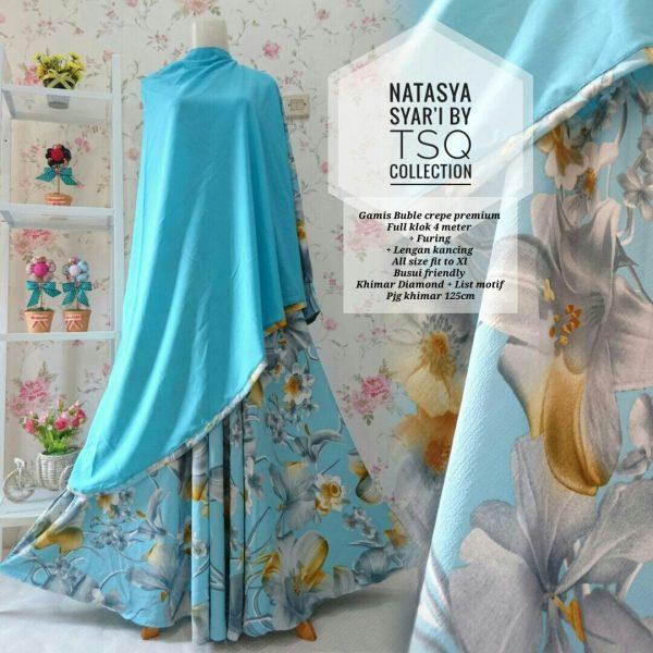 gambar gamis cantik natasya premium biru