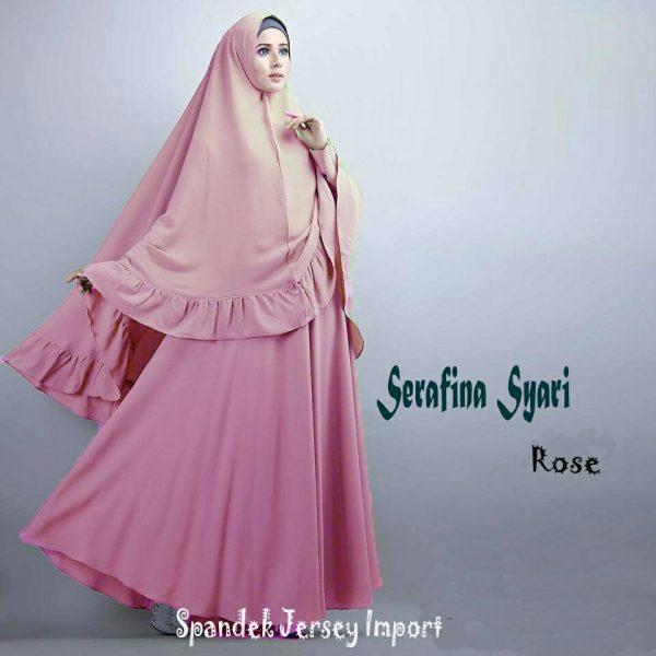 B097 gamis polos serafina syar'i pink