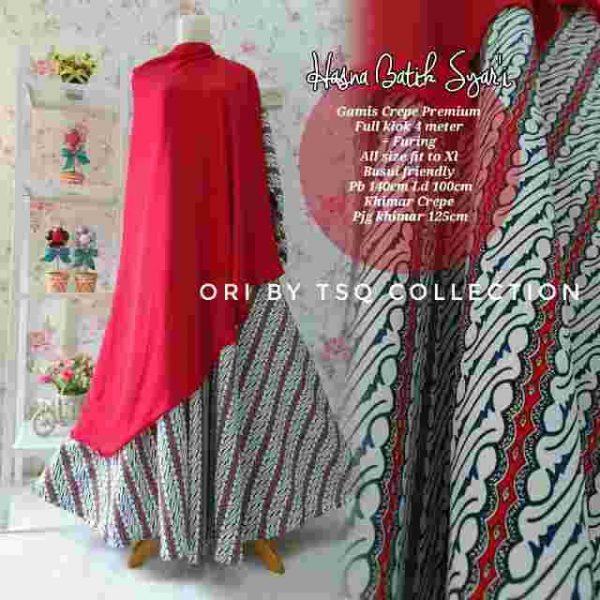 Gambar Gamis Katun Premium Hasna Batik Syar'i
