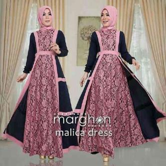 Gamis Brokat Malica Dress Pink