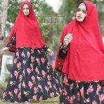 b087 gamis syari delisha merah