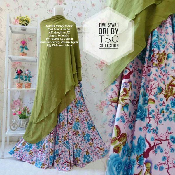 gamis cantik b110 tiwi syari motif bunga baju muslim modern