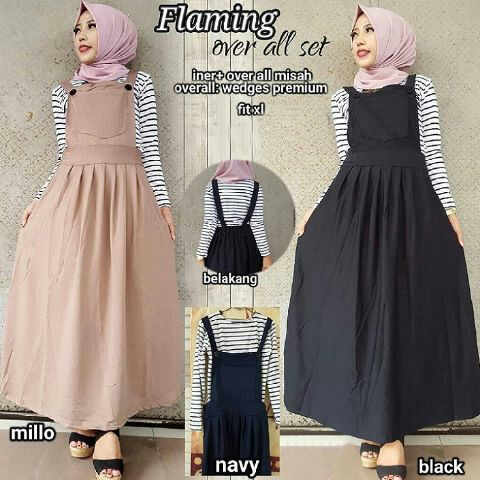 model gamis remaja flaming overall