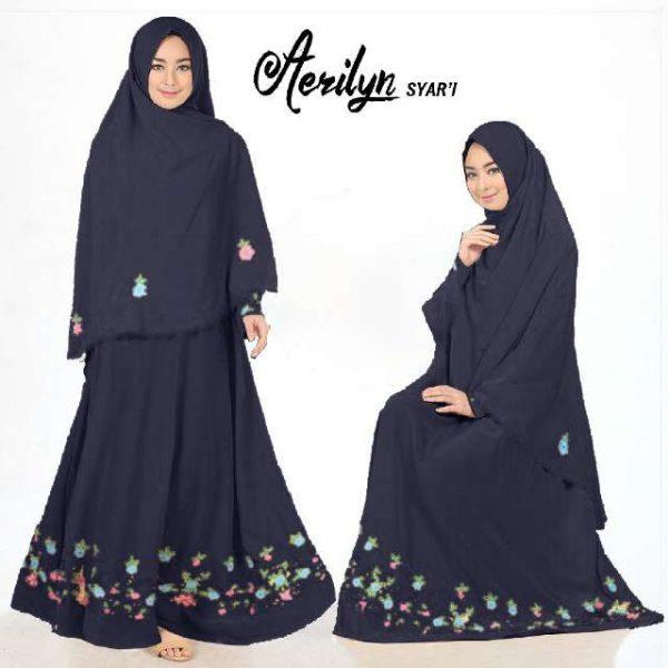 Gamis Polos Aerlyn Syar 39 I Crepe Bordir Baju Muslim Cantik