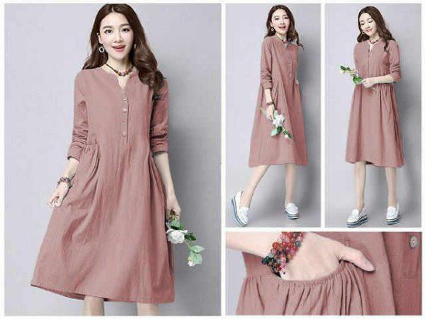 Baju Atasan Denim Tunik (Midi Dress) salem